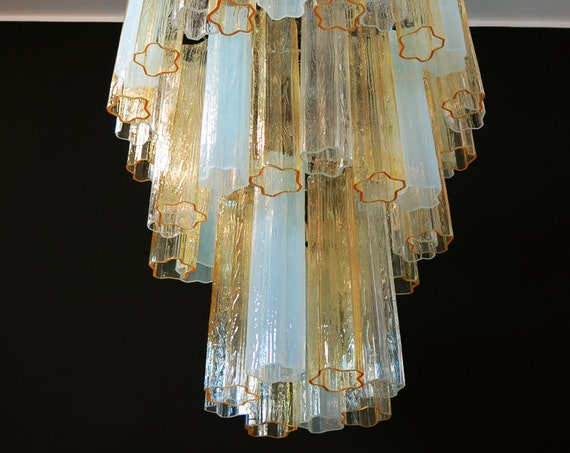 Large three-Tier Venini Murano Glass Tube Chandelier - amber opal silk and trasparent