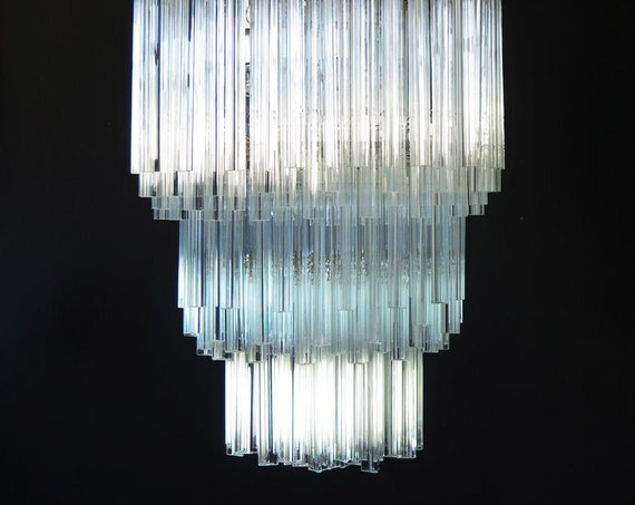 Huge Murano chandelier trasparent triedri – 242 prism - Arianna model