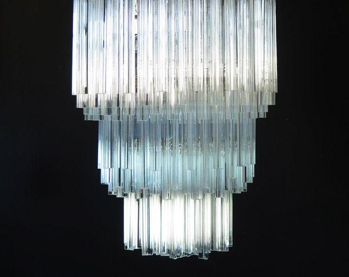 Huge Murano chandelier trasparent triedri – 242 prism - Arianna model