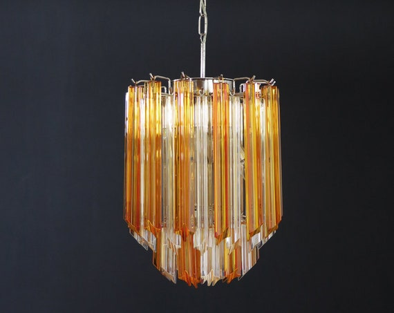 Quadriedri Murano chandelier - 45 prisms - trasparent amber