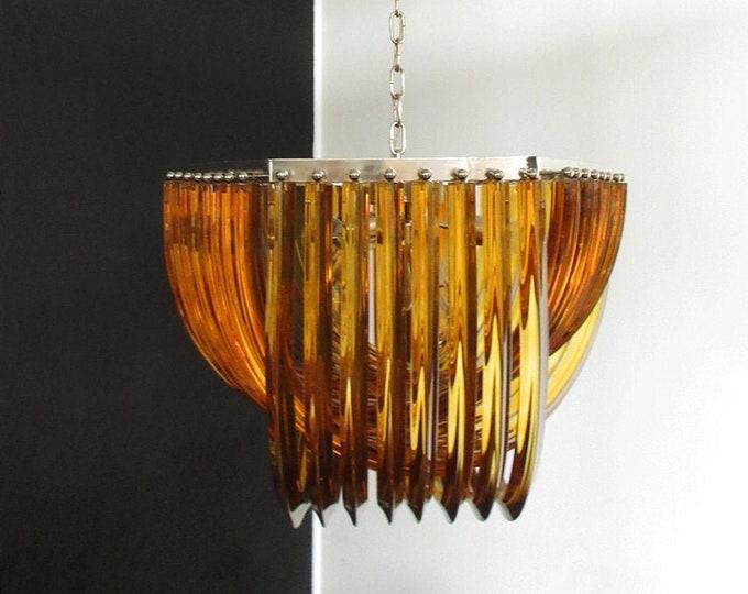 Large Curvati rainbow chandelier, amber and trasparent Triedri, 24 Murano glasses