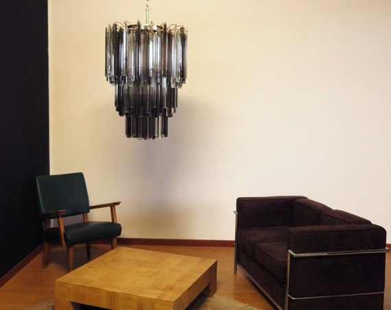 Huge Murano chandelier trasaparent and smoked triedri – 184 prism – Mariangela model