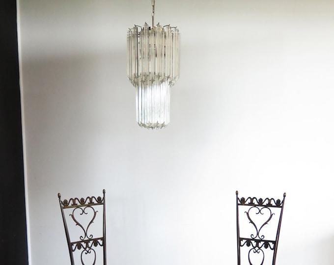 Murano quadriedri chandelier - 46 trasparent prism