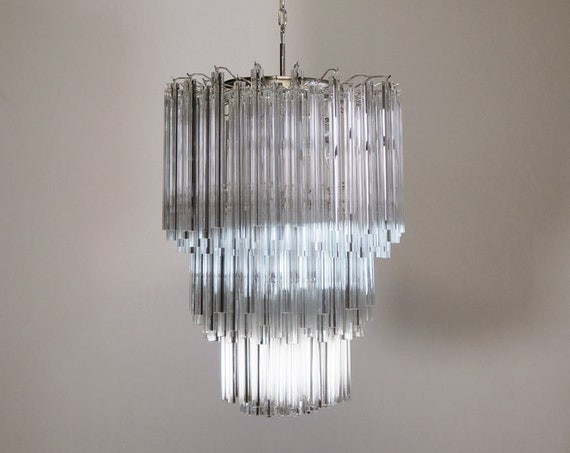 Huge Murano chandelier trasparent triedri – 187 prism - Mariangela model