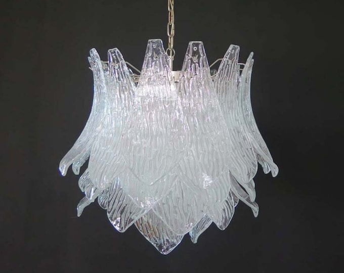 Italian vintage Murano Glass chandelier - 38 trasparent glasses