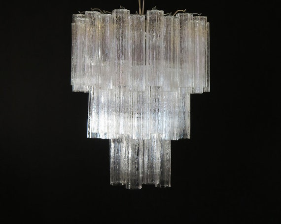 Large three-Tier Venini Murano Glass Tube Chandelier – 48 glasses