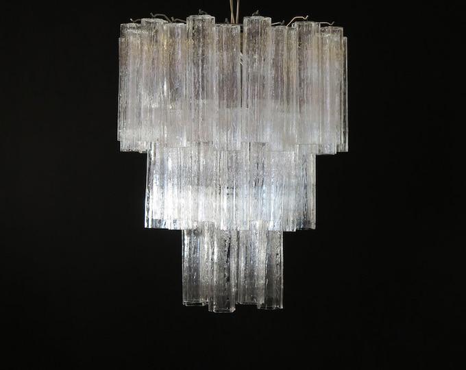 Large three-Tier Venini Murano Glass Tube Chandelier – 48 glasses