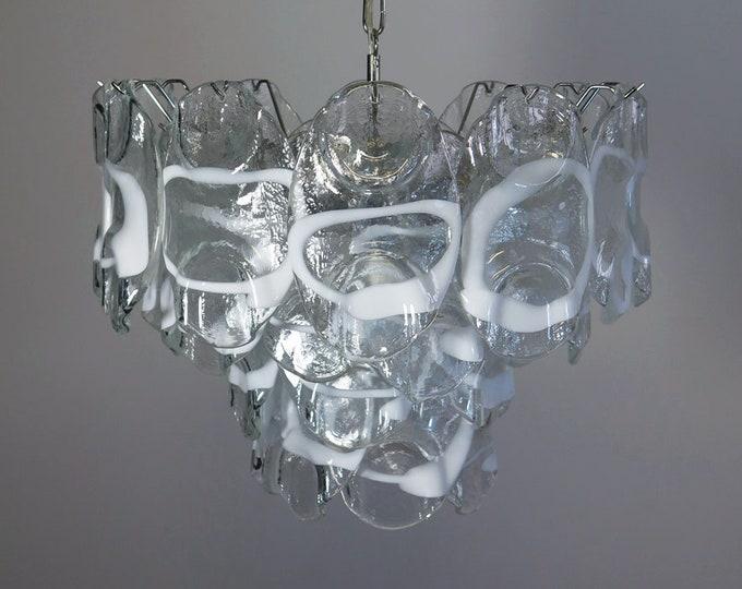 Vintage Italian Murano chandelier lamp in Vistosi style - 36 glasses