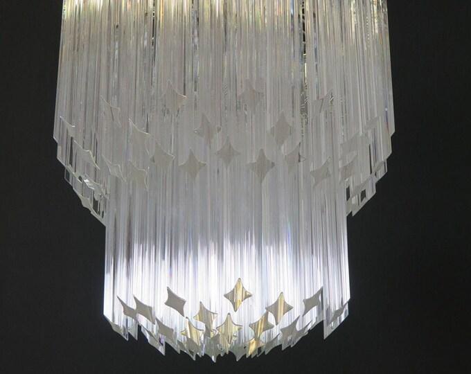 Murano big chandelier - Venini style – 107 traparent prism quadriedri - Elena Model