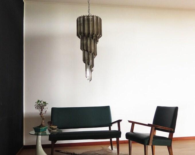 Murano chandelier 86 trasparent and smoked quadriedri prism