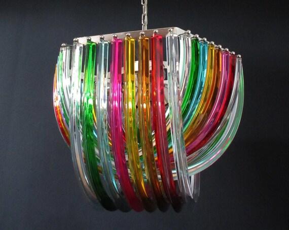 Large Curvati rainbow chandelier, multicolored Triedri, 24 Murano glasses