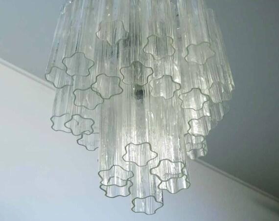 Fantastic Murano Glass Tube Chandelier - Venini style - 30 glasses