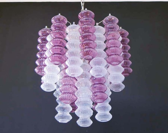 Rare top quality Murano Vintage chandelier - trasparent and purple glass