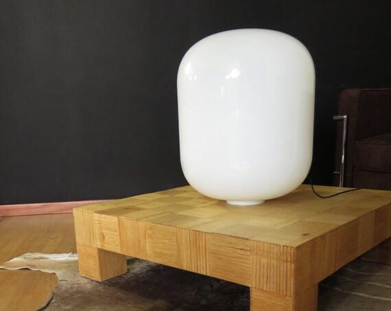 Huge Italian vintage Murano white glass table / floor lamp