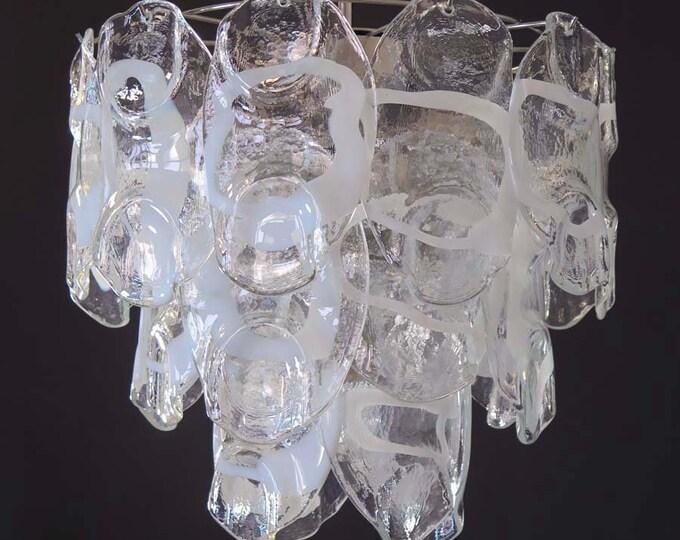 1970's Vintage Italian Murano chandelier lamp in Vistosi style 23 glasses