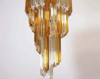 Vistosi glass disc chandelier, 36 discs, Murano , yellow and purple bursts