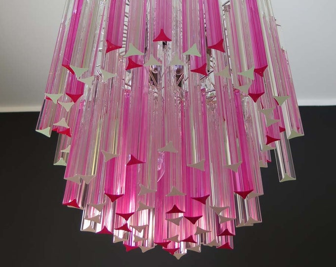 Wonderful Murano chandelier – 107 prism - Arianna model - pink and trasparent