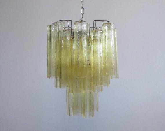 Fantastic Murano clear amber / gold Glass Tube Chandelier - Venini style