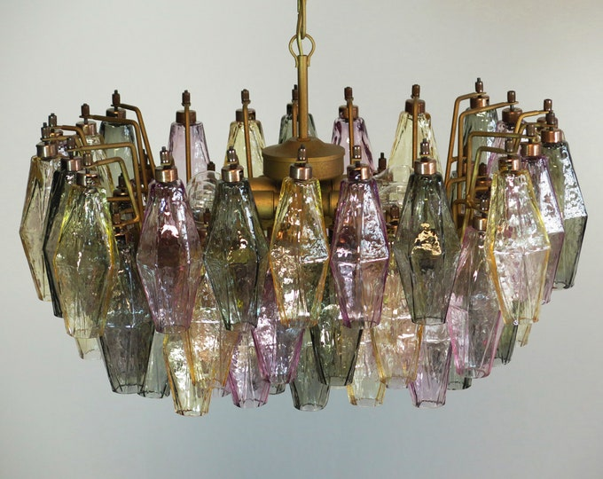 Elegant Murano Poliedri Chandelier - Carlo Scarpa - 56 multicolored glasses