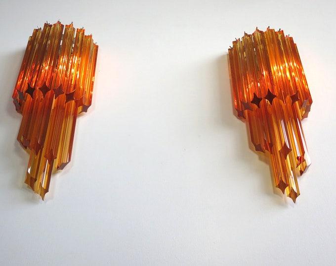 Pair of vintage Murano wall sconce – 32 quadriedri amber prism