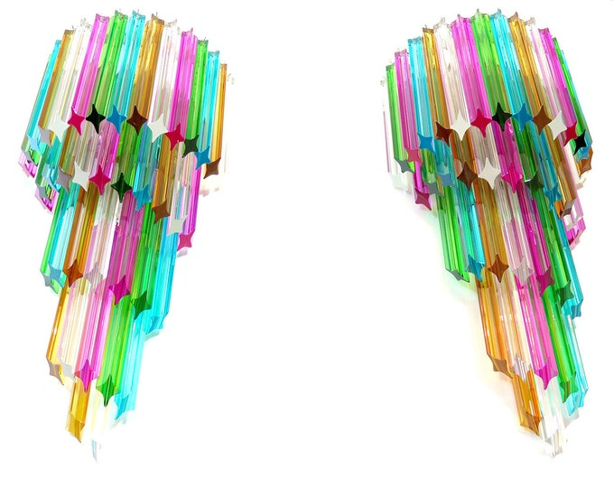 Monumental pair of vintage Murano wall sconce – 41 multicolor quadriedri - Mariangela model