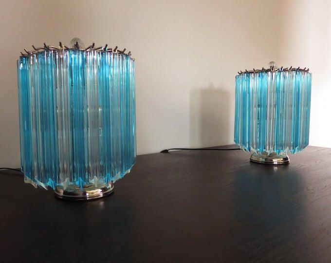 Quadriedri Table Lamp - Venini Style - trasparent and blue prism