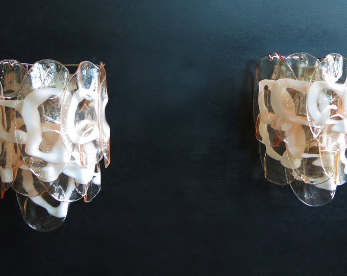 1970's Pair of Vintage Italian Murano wall lights - 10 pink glasses