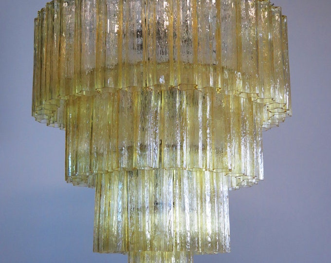 Huge Vintage Murano Glass Tiered Chandelier - 78 glasses - light amber