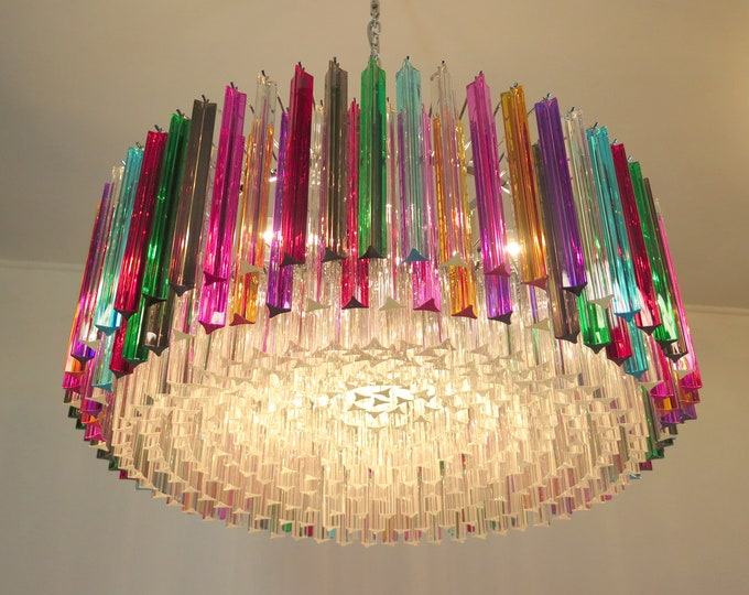 Large Triedri Murano glass Chandelier - 391 prims multicolor