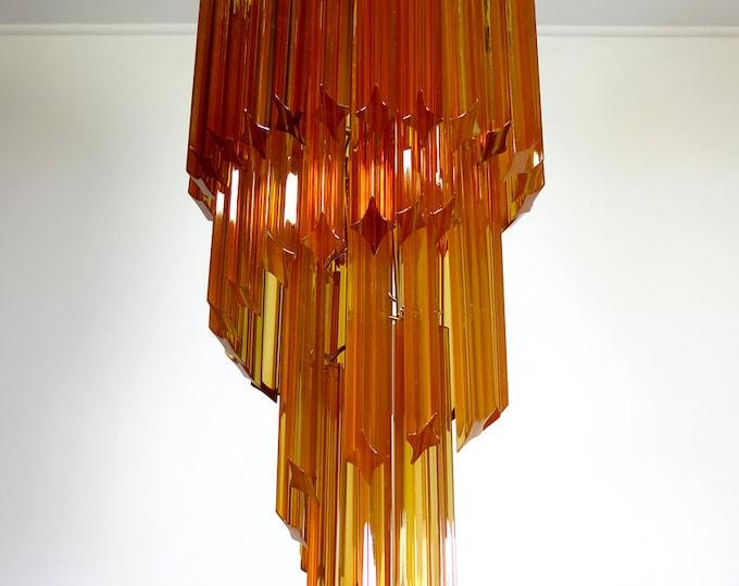 Murano vintage chandelier – 54 quadriedri amber prisms