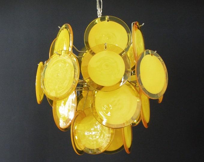 1970's Vintage Italian Murano chandelier - 24 yellow disks