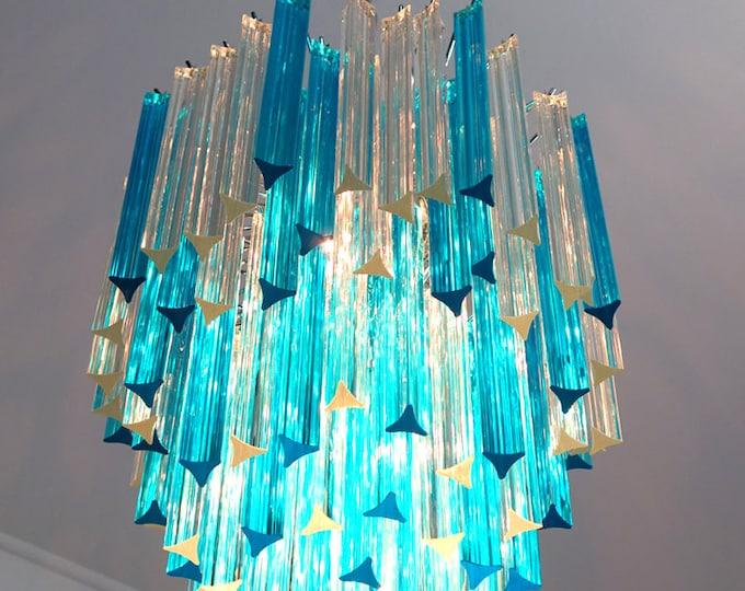 Murano chandelier triedri – 92 prism - trasparent and blue