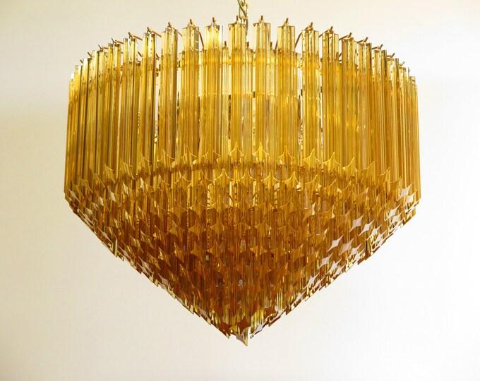 Modern Quadriedri Murano glass Chandelier - 265 amber prism - gold frame
