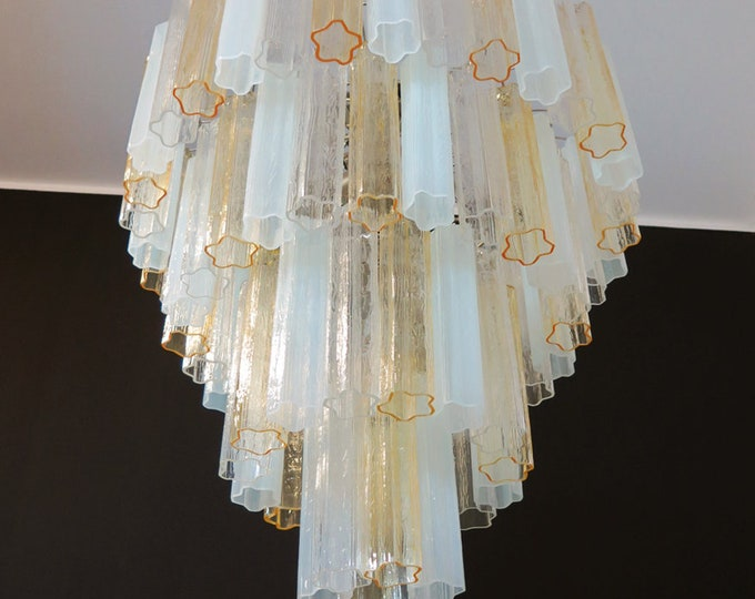 Huge Vintage Murano Glass Tiered Chandelier -78 glasses - amber opal silk and trasparent