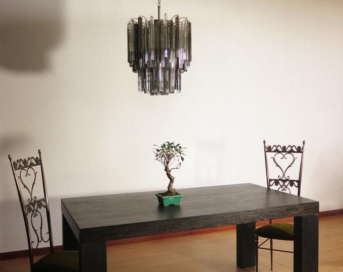 Vintage Murano chandelier – 107 prism triedri - trasparent and smoked