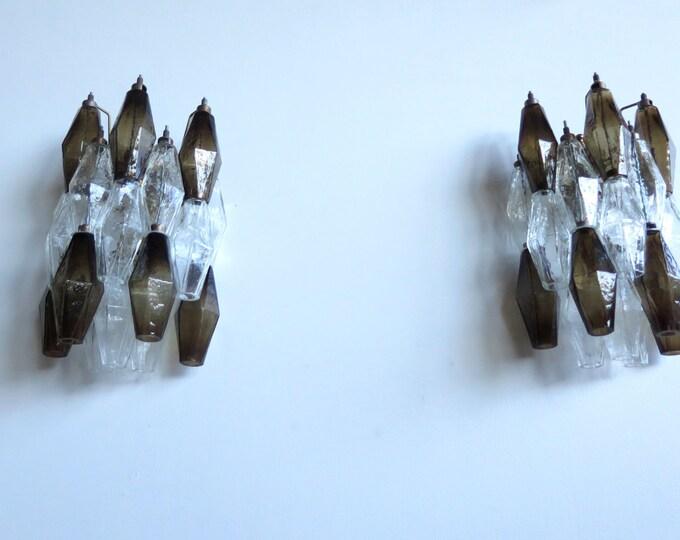 Vintage Murano Italian POLIEDRI smoked and trasparent glass wall sconces