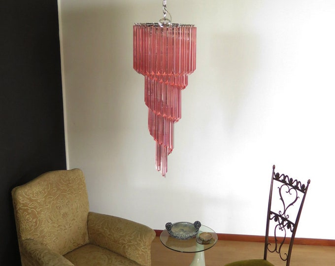 Murano chandelier 86 pink quadriedri prism