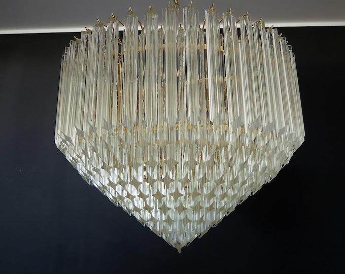 Modern Quadriedri Murano glass Chandelier - 265 trasparent prism - gold frame