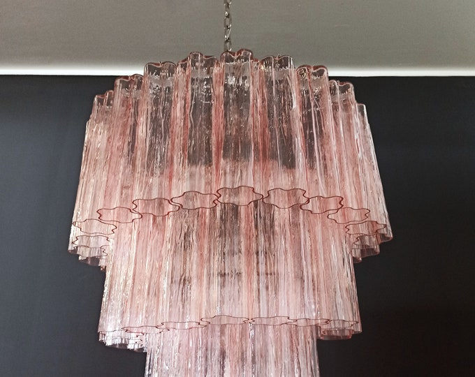 Large three-Tier Murano PINK Glass Tube Chandelier - 52 glasses