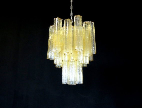 Fantastic Murano clear amber / gold Glass Tube Chandelier - Venini style