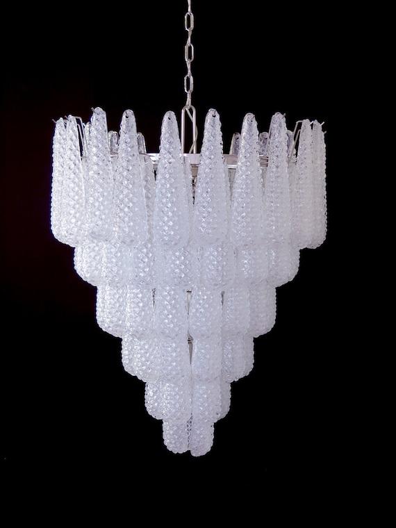 Huge Italian vintage Murano glass chandelier - 75 glass petals drop