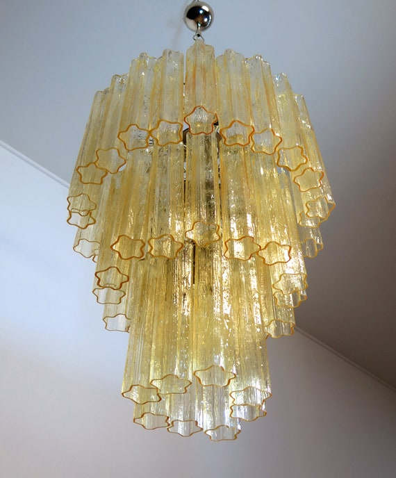 Large three-Tier Venini Murano Glass Tube Chandelier - 48 glasses clear amber