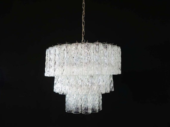 Large three-Tier Venini Murano Glass Tube Chandelier