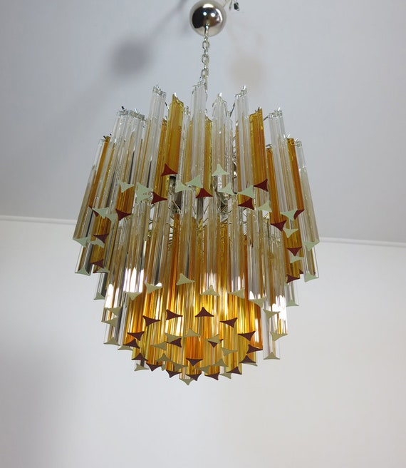 Vintage Murano chandelier – 107 prism triedri - Arianna model - amber and trasparent
