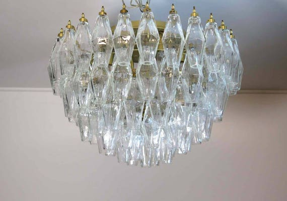 RESERVED FOR EVA - Elegant Murano Poliedri ceiling light - Carlo Scarpa