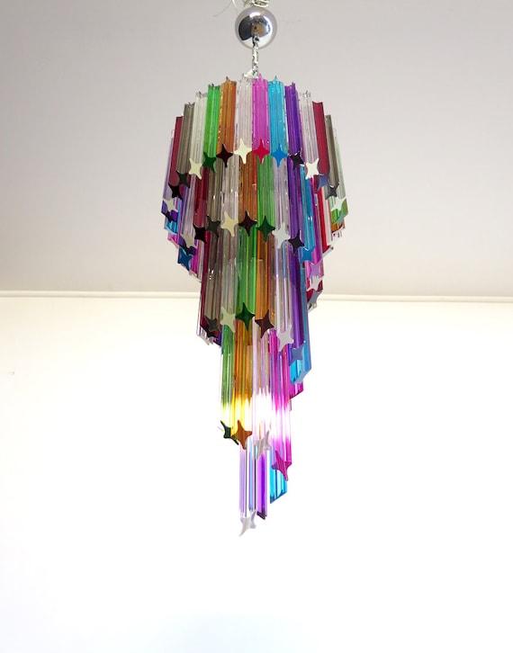 Murano chandelier multicolor - 86 quadriedri prism - Mariangela model