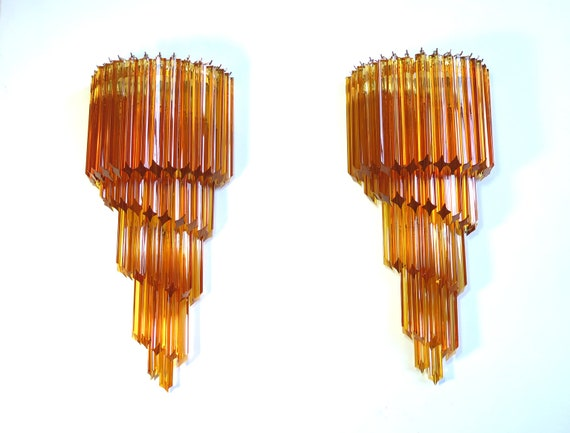 Monumental pair of vintage Murano wall sconce – 41 amber quadriedri