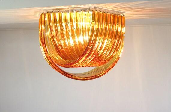 Large Curvati rainbow ceiling light, amber Triedri, 24 Murano glasses