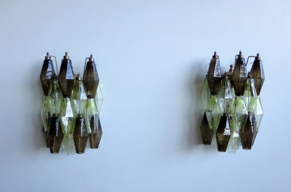 Vintage Murano Italian POLIEDRI smoked and yellow glass wall sconces