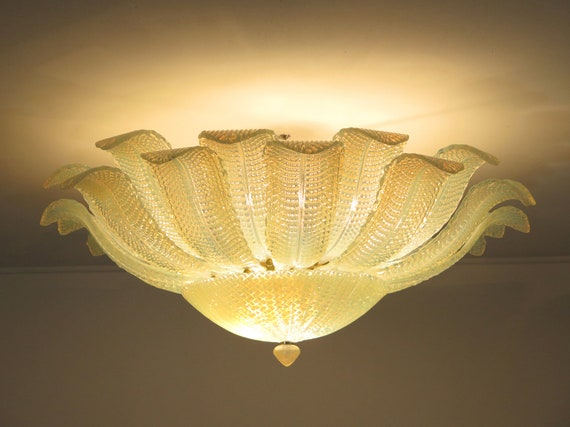 Rare Barovier Flower Ceiling Lamp - Murano Art Glas – opalino glass
